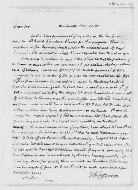 Thomas Jefferson to Patrick Gibson, March 15, 1820