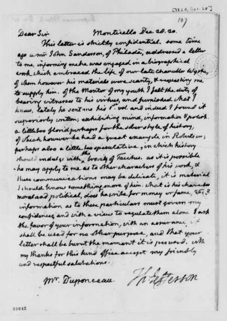 Thomas Jefferson to Peter S. du Ponceau, December 28, 1820