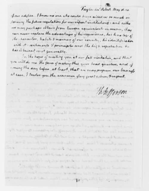 Thomas Jefferson to Robert Taylor and Chapman Johnson, May 16, 1820