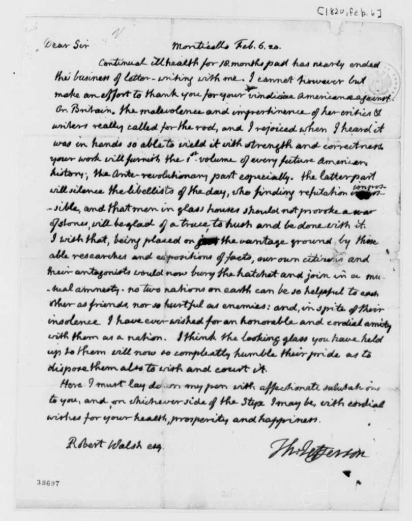 Thomas Jefferson to Robert Walsh, Jr., February 6, 1820, with Copy