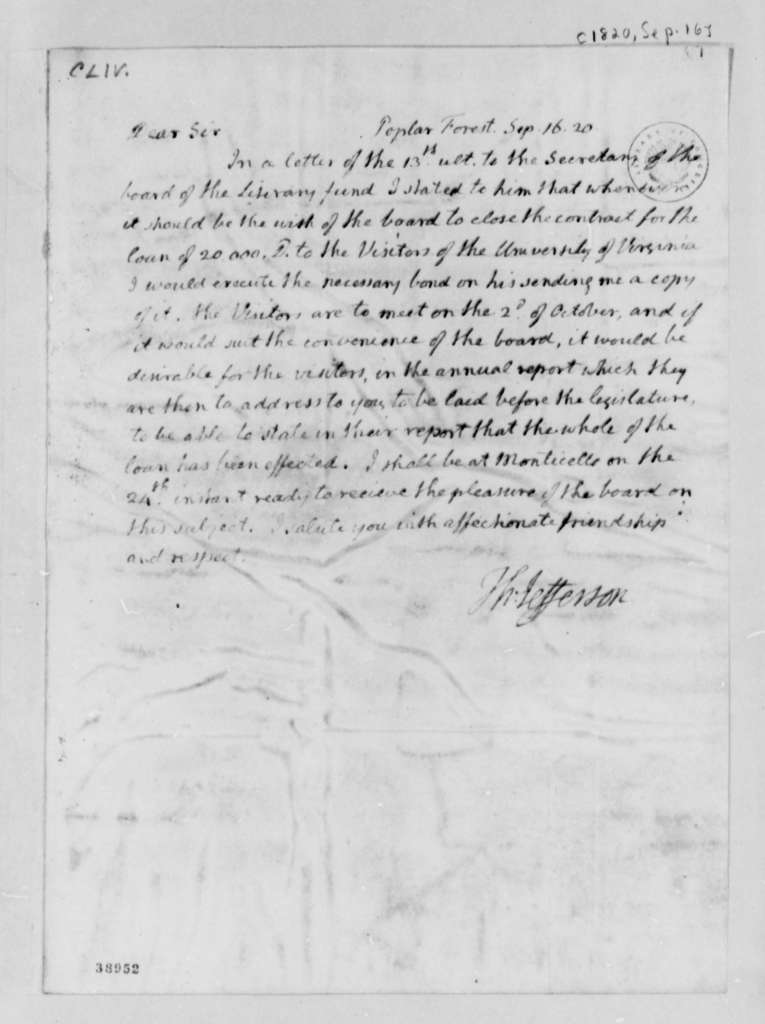 Thomas Jefferson to Thomas Mann Randolph, Jr., September 16, 1820