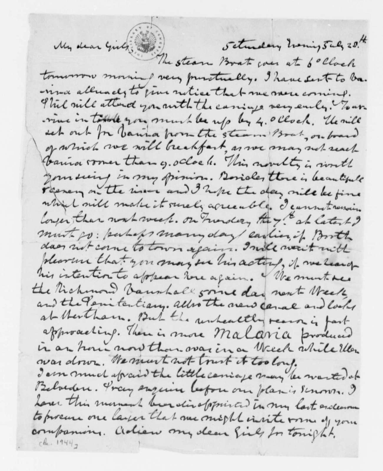 Thomas Mann Randolph, Jr. to Cornelia Randolph, July 28, 1820