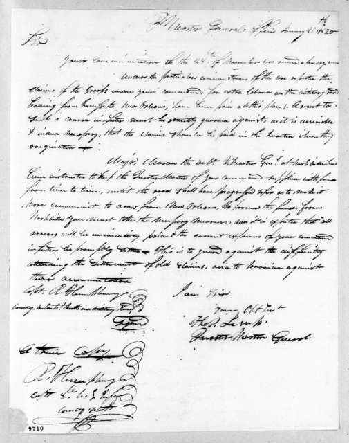 Thomas Sidney Jesup to Unknown, January 20, 1820