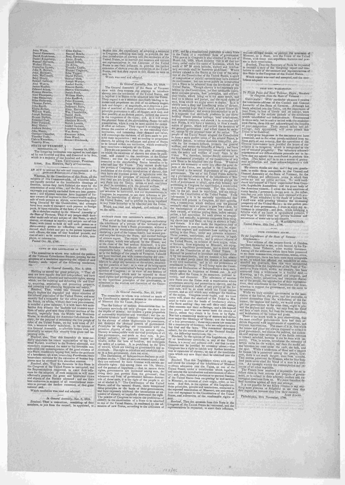 To the freemen of Vermont. Fellow-citizens. I have been frequently requested by gentlemen of different political parties to write out in full a history of the part that Vermont has taken in relation to slavery .... [18-].