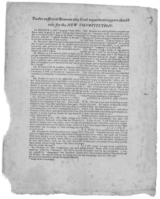 Twelve sufficient reasons why I and my understrappers should vote for the new constitution ... [Signed A Judge & Justice of the Peace. [1820?].