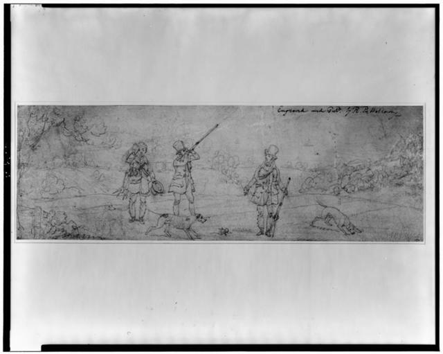 [Two hunters holding guns, three dogs, and man carrying game and wiping his brow in field surrounded by woods]