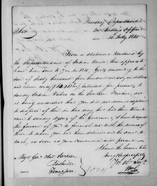 William Lee to Andrew Jackson, July 10, 1820