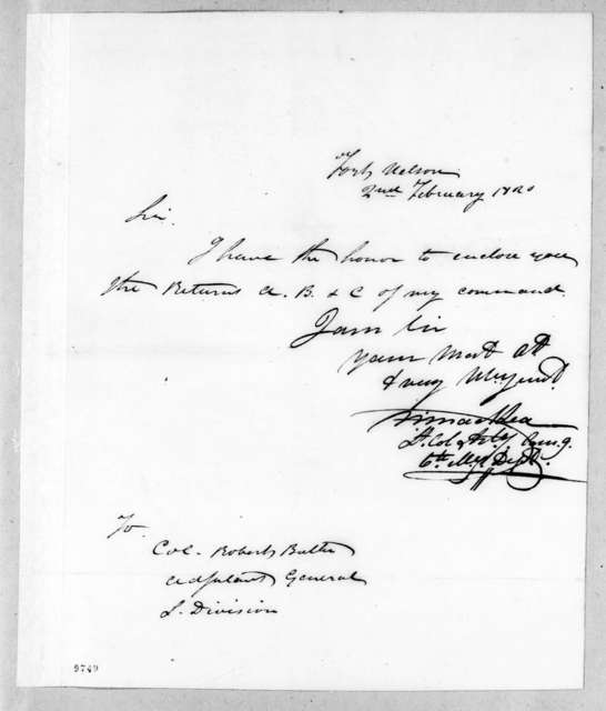 William MacRea to Robert Butler, February 2, 1820