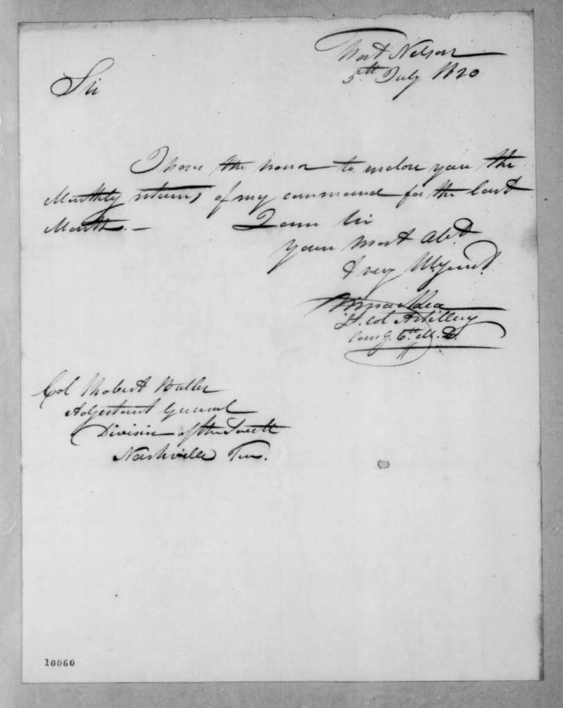 William MacRea to Robert Butler, July 5, 1820