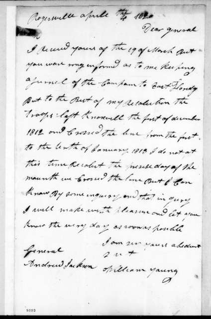 William Young to Andrew Jackson, April 4, 1820