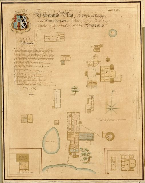 A ground plan of the works and buildings on the Wood Estate of Peter Langford Brooke, Esq., situated in the Parish of St. John's, Antigua /