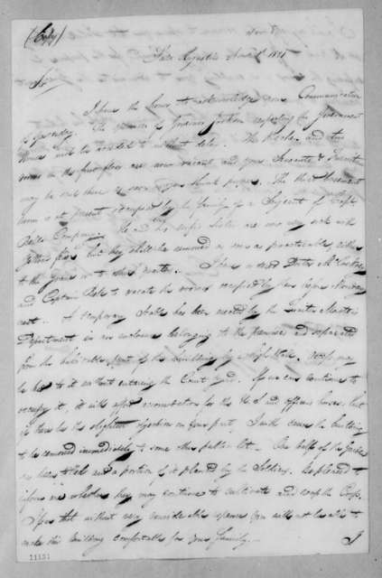 Abram Eustis to William Grafton Dulany Worthington, November 8, 1821