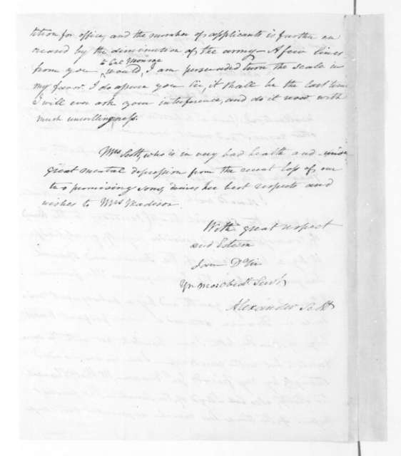 Alexander Scott to James Madison, March 10, 1821.