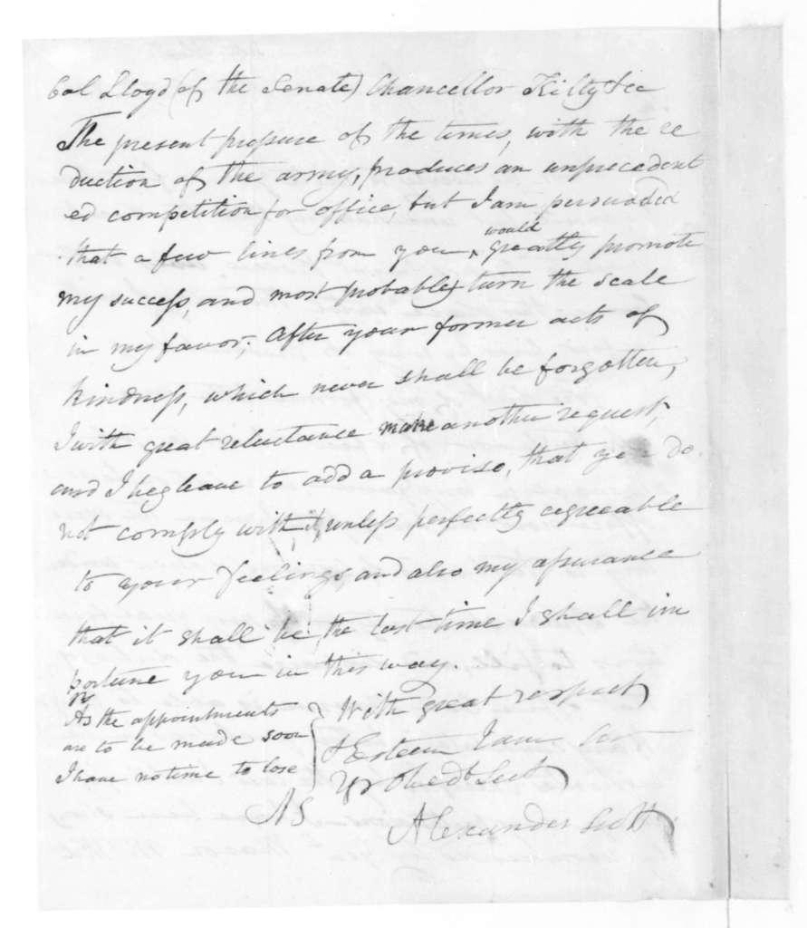 Alexander Scott to James Madison, March 12, 1821.