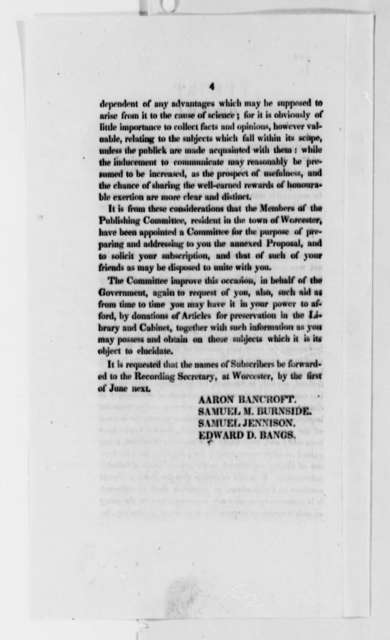 American Antiquarian Society to Thomas Jefferson, October 23, 1821, Printed Circular and Report