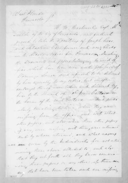 Andrew Jackson to Henry Marie Brackenridge, August 23, 1821