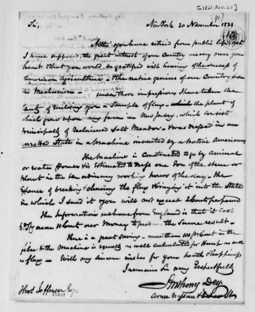 Anthony Dey to Thomas Jefferson, November 20, 1821