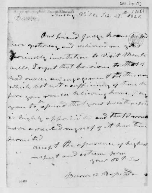 Burwell Bassett to Thomas Jefferson, September 27, 1821
