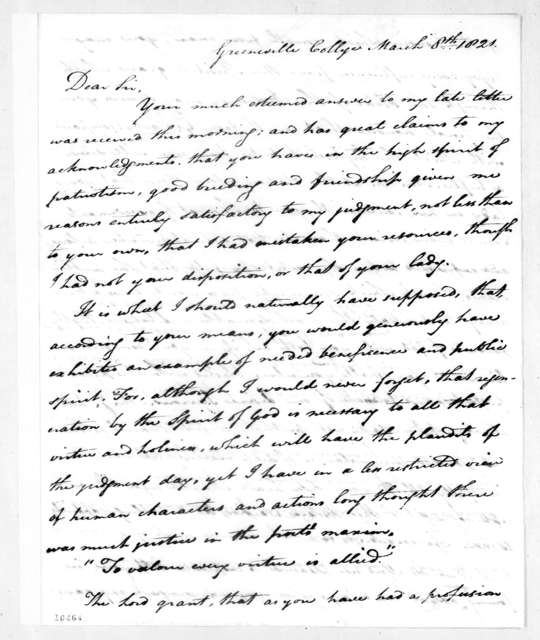 Charles Coffin to Andrew Jackson, March 8, 1821