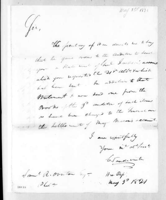 Christopher Vandeventer to Samuel Ragland Overton, May 3, 1821
