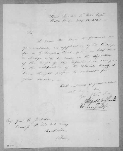 Daniel Bissell to Andrew Jackson, February 27, 1821