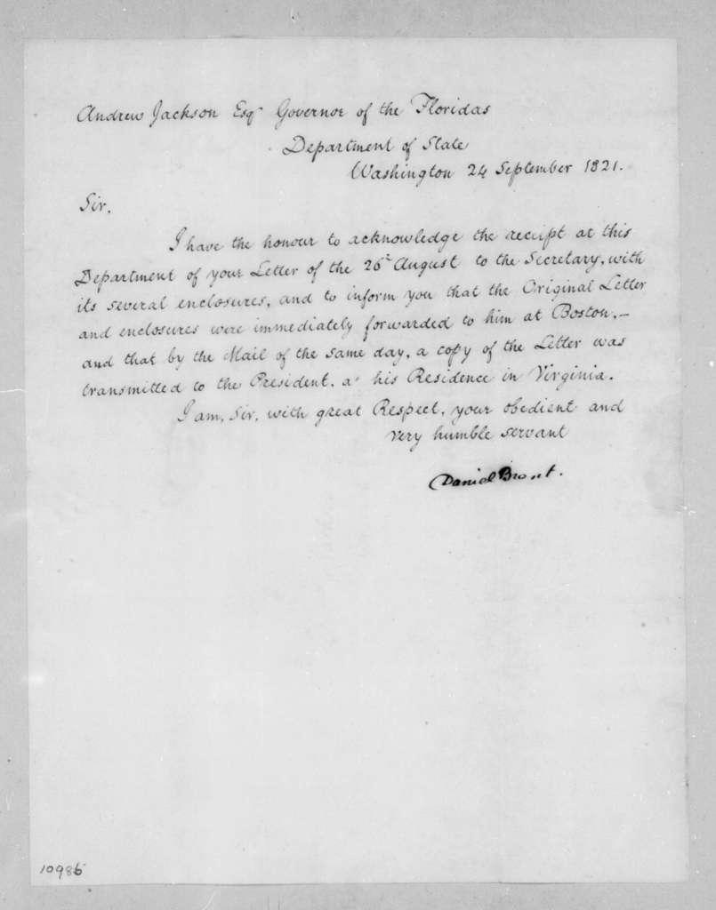 Daniel Brent to Andrew Jackson, September 24, 1821