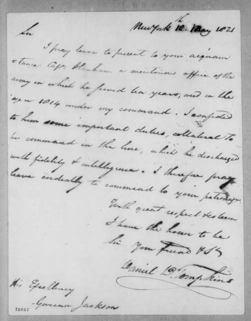 Daniel D. Tompkins to Andrew Jackson, May 18, 1821