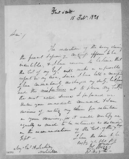 David Emanual Twiggs to Andrew Jackson, February 15, 1821