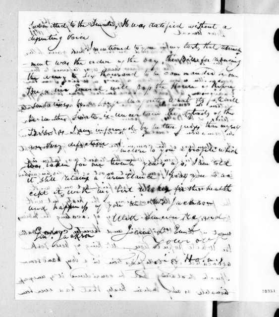 David Holmes to Andrew Jackson, January 19, 1821