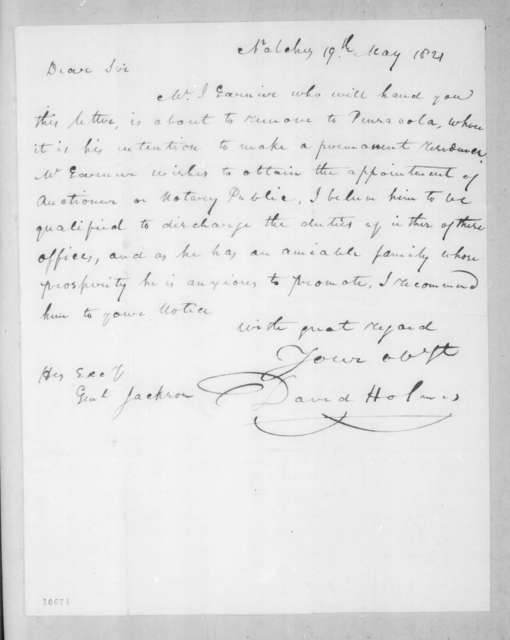 David Holmes to Andrew Jackson, May 19, 1821