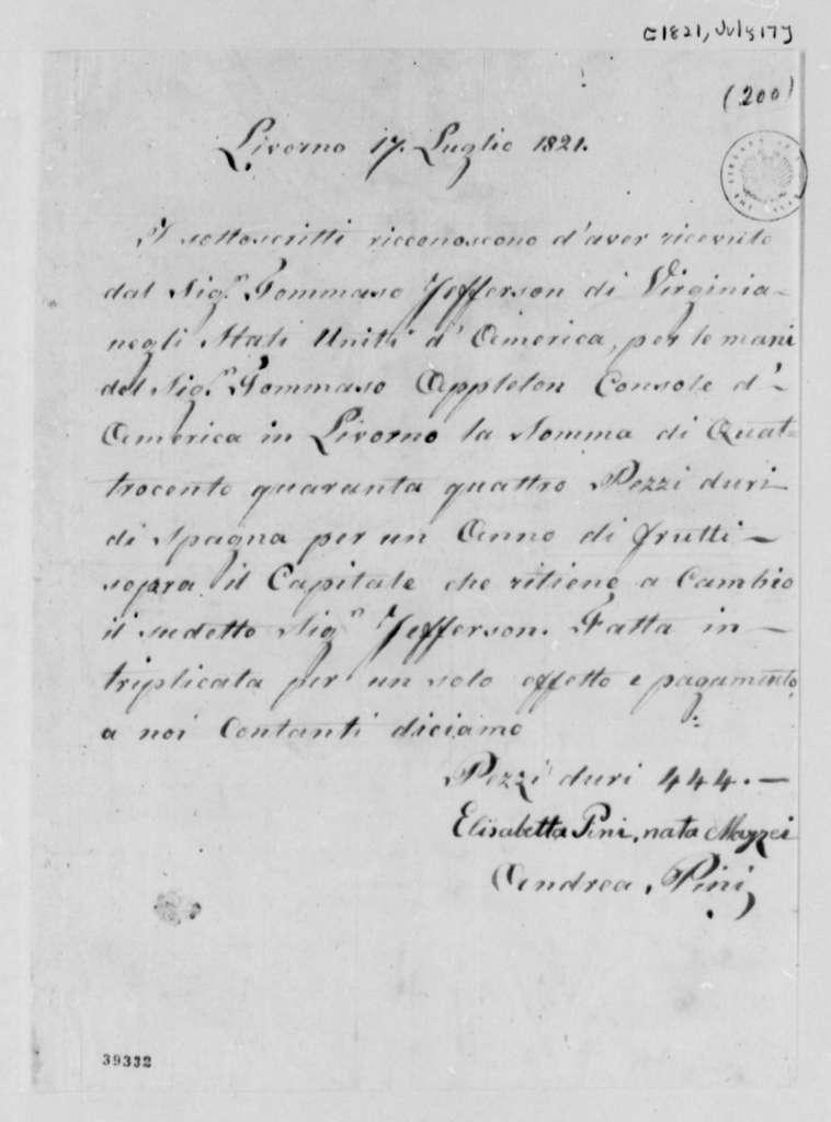 Elizabetta M. Pini and Andrea Pini to Thomas Jefferson, July 17, 1821, in Italian