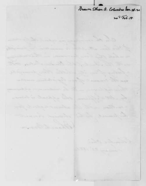 Ethan A. Brown to Thomas Jefferson, January 28, 1821