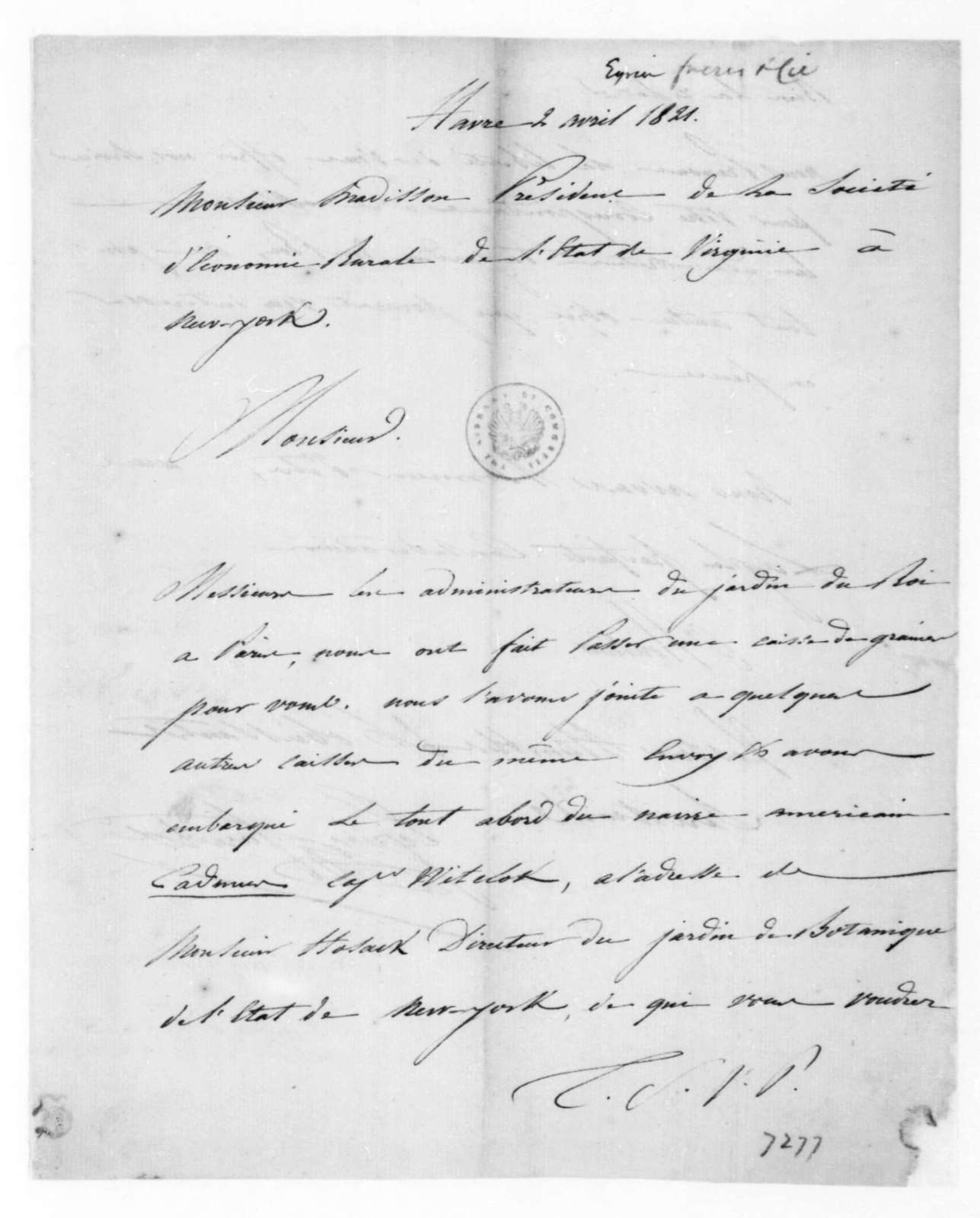 Eyrien Freres & Cie to James Madison, April 2, 1821. In French.