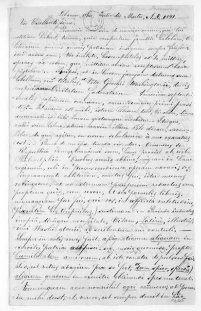 Franciscus Glass to James Madison, March 3, 1821. In Latin.
