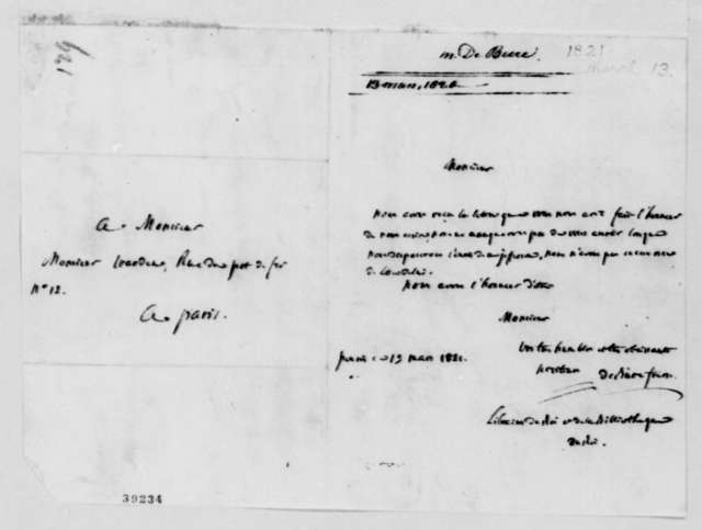 Freres Debure to David B. Warden, March 13, 1821, in French