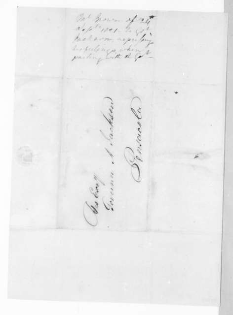 George I. Brown to Andrew Jackson, September 24, 1821