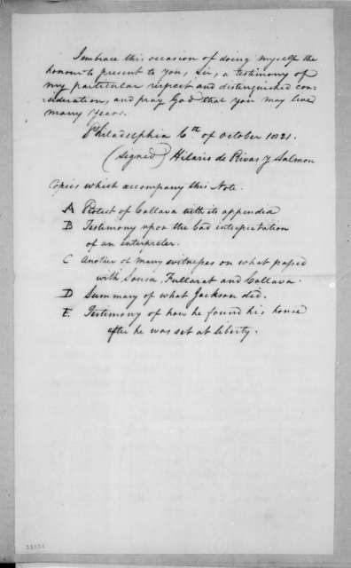 Hilario de Rivas y Salmon to John Caldwell Calhoun, October 6, 1821