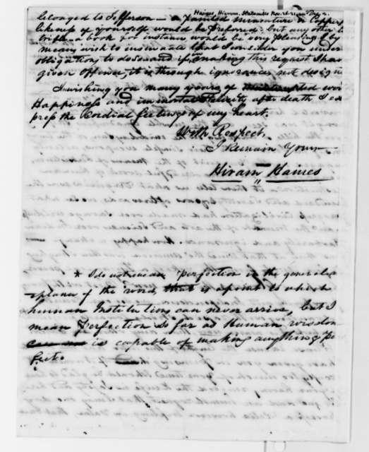 Hiram Haines to Thomas Jefferson, November 26, 1821