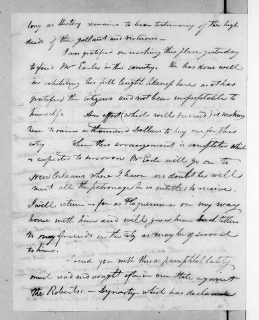 Isaac Lewis Baker to Andrew Jackson, February 18, 1821