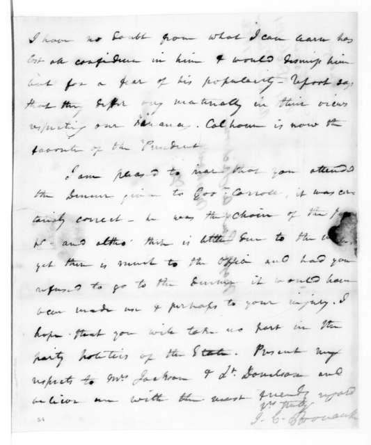 James Craine Bronaugh to Andrew Jackson, December 11, 1821
