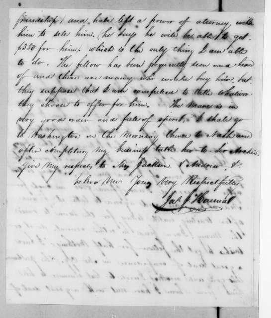 James Jackson Hanna to Andrew Jackson, March 1, 1821