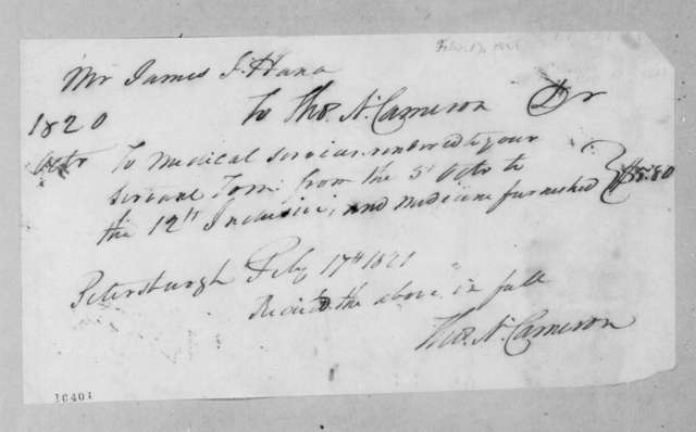 James Jackson Hanna to Thomas N. Cameron, February 17, 1821