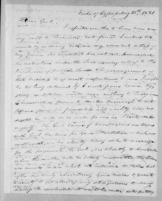 James Jackson to Andrew Jackson, May 28, 1821