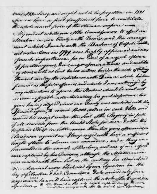 James Leander Cathcart to Thomas Jefferson, August 27, 1821, with Petition and Letter Extracts,