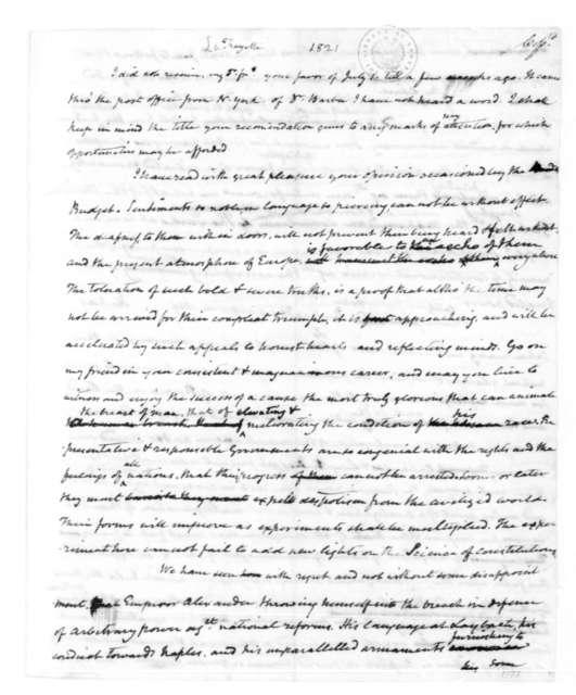 James Madison to Marie Joseph Paul Yves Roch Gilbert du Motier, Marquis de Lafayette. 1821.