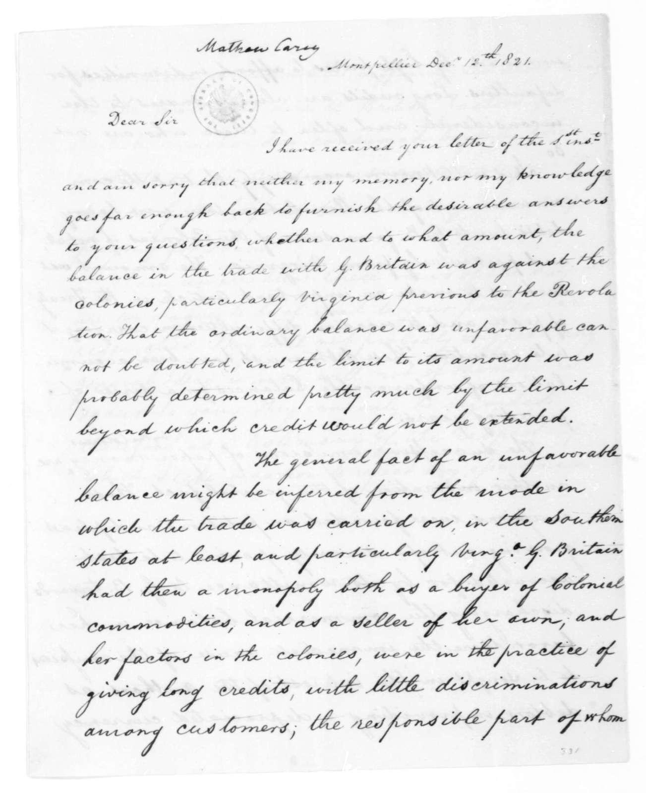 James Madison to Mathew Carey, December 12, 1821.