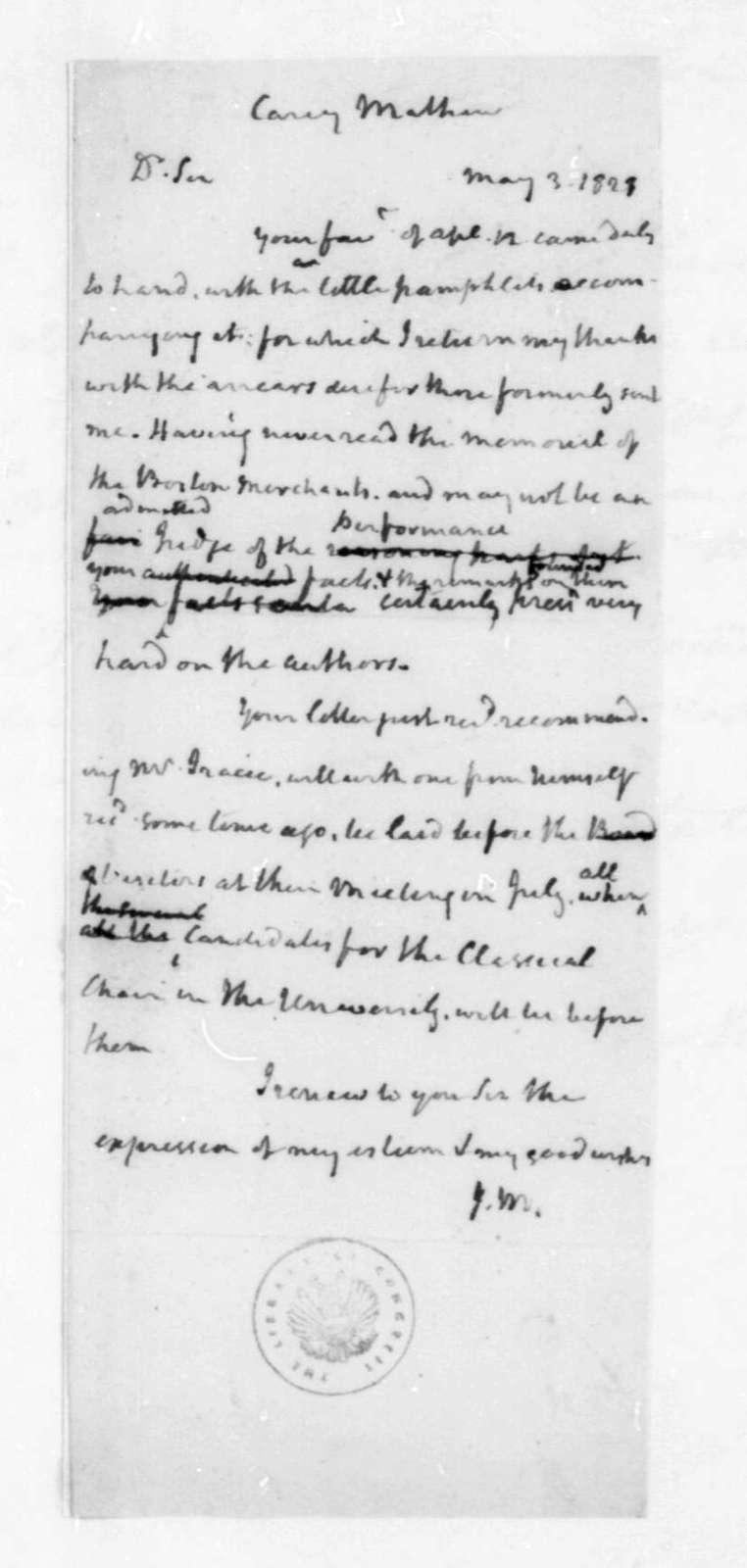 James Madison to Mathew Carey, May 3, 1821.
