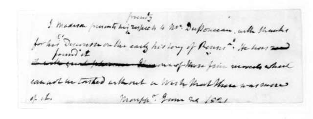 James Madison to Peter S. Duponceau, June 24, 1821.