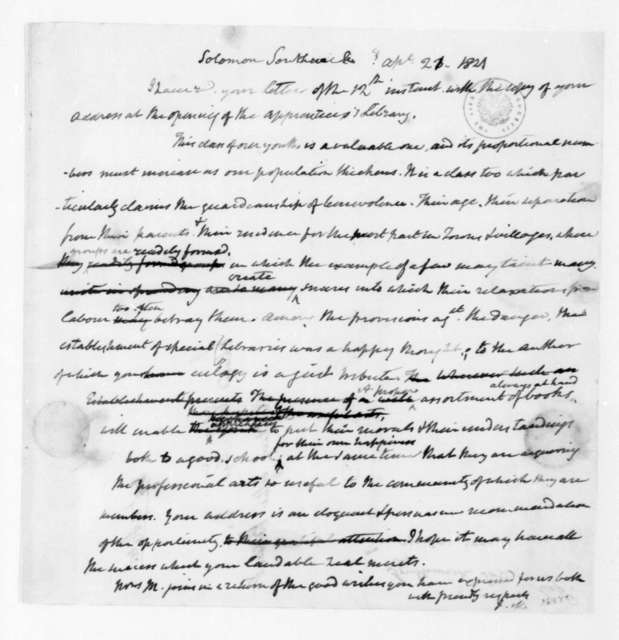 James Madison to Solomon Southwick, April 21, 1821.