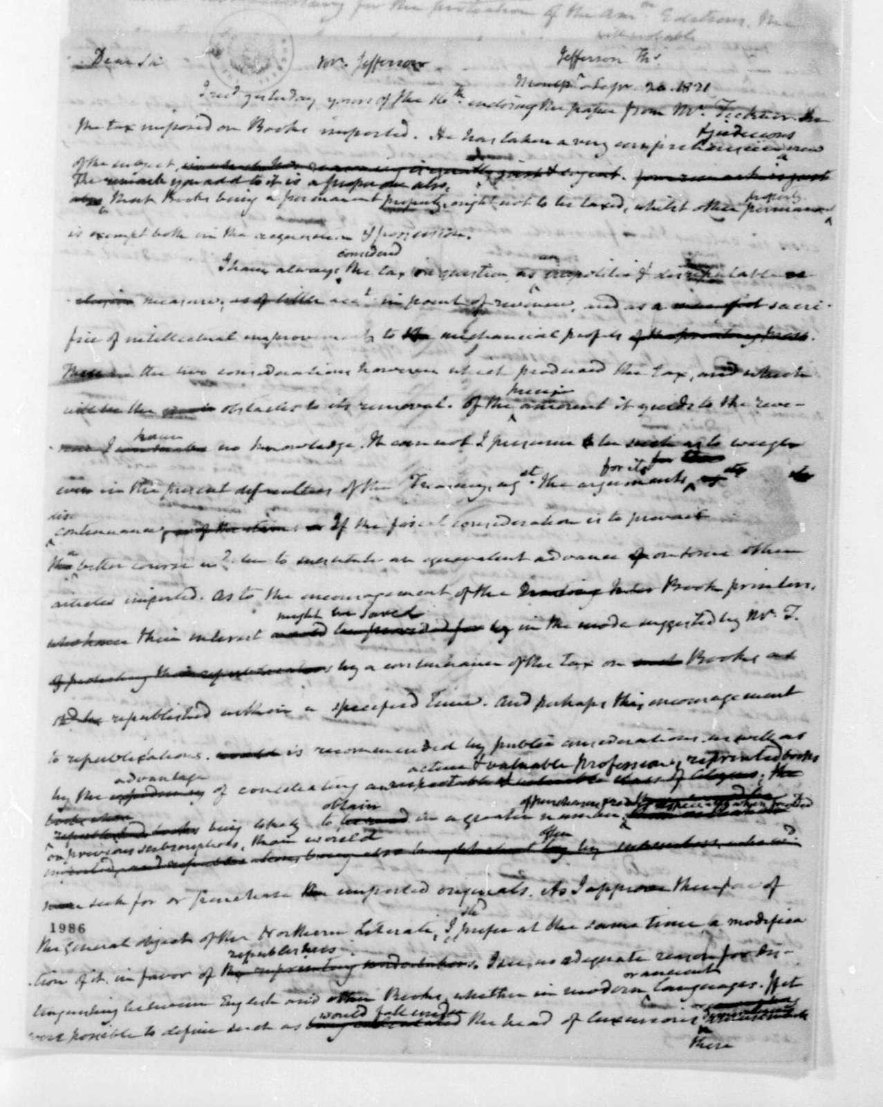James Madison to Thomas Jefferson, September 20, 1821.